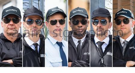 Collage d'agents de sécurité. Divers groupes de personnes Portraits Banque D'Images