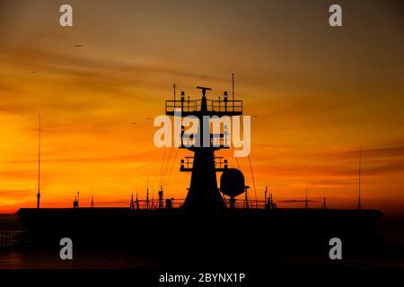 Coucher de soleil sur le ferry de la mer du Nord