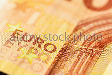 Les détails de l'impression des billets en euros sont pris en photo avec un objectif macro Banque D'Images