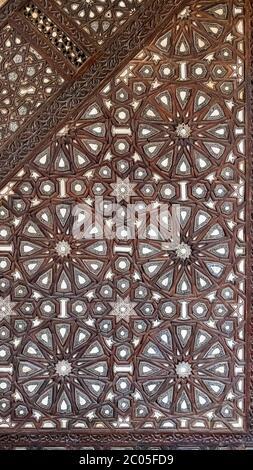 Détail de marqueterie, volé, maintenant dans des complexes de minbar Sultan al-Mu'ayyad, Le Caire, Egypte