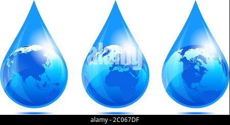 Globe européen, monde, Terre, monde africain, monde américain, goutte d'eau, icônes de goutte d'eau Banque D'Images
