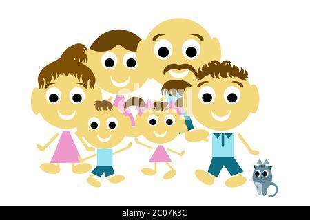 Famille joyeuse, famille de trois générations et chat