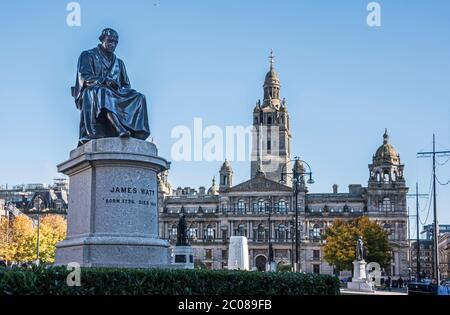 Statue de James Watt , inventeur écossais, à George Square, Glasgow, Écosse Banque D'Images