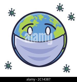 Illustration du vecteur du masque de terre. Personnage de dessin animé Corona. Concept d'icône mondiale blanc isolé. Style dessin animé plat Banque D'Images