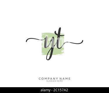 YT vecteur initial du logo d'écriture manuscrite Banque D'Images