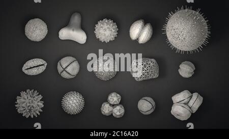 illustration 3d de nombreux corps de pollen différents en noir et blanc