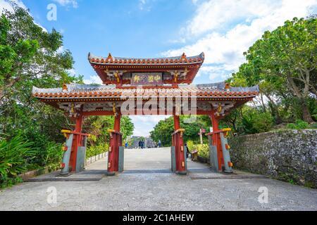 Porte Shureimon dans le château de Shuri à Okinawa, Japon