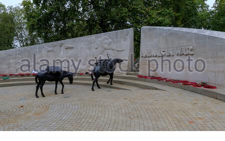 Londres, Royaume-Uni - 05 octobre 2015: Les animaux en monument aux morts situé sur Park Lane à Londres, Banque D'Images