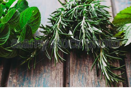 Des herbes fraîches. La mélisse, romarin et menthe au cadre rustique. Épices sur bois Banque D'Images