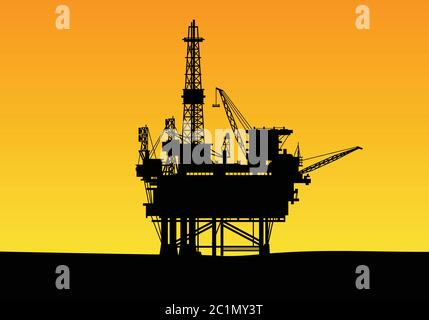 silhouette d'une construction de forage pétrolier offshore avec des tours hautes et une grue. Adapté au modèle de conception de fond de la société de gaz et d'énergie. Banque D'Images