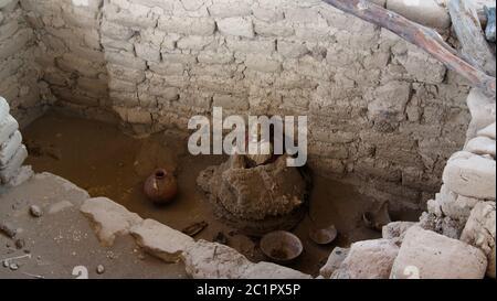 Ancien cimetière de civilisation de la préinca nazca de Chauchilla, Nazca, Pérou Banque D'Images