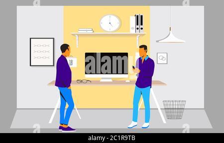 deux amis parlent au bureau