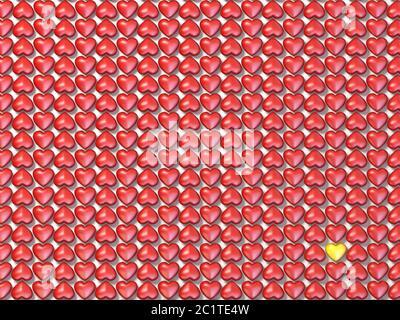 Cœur rouge et cœur jaune 3D Banque D'Images