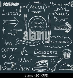 Tableau noir composé d'éléments de décoration de menu de restaurant