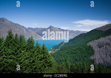 Vue sur le lac Wakatipu depuis la piste Ben Lomond près de Queenstown, Nouvelle-Zélande. Banque D'Images