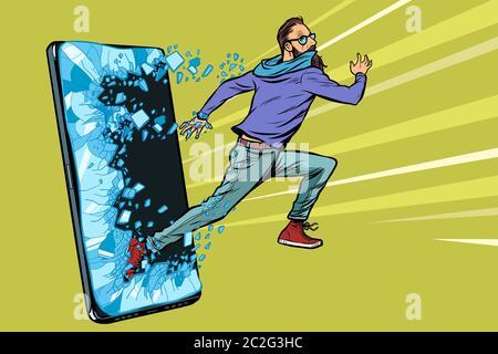 Homme court hipster gadget Téléphone smartphone. Internet en ligne Programme de service d'application. Pop art retro kitsch vintage dessin illustration vectorielle