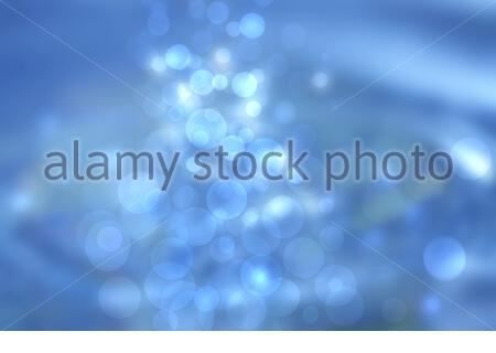 Monde sous-marin. Abstract blue lightening bokeh circles unterwater de bulles. Beau bleu illustration. Banque D'Images