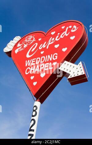 Panneau Cupid's Wedding Chapel à Las Vegas, Nevada, États-Unis Banque D'Images