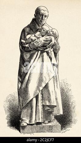 Statue en marbre de Saint Vincent de Paul du sculpteur français Jean-Alexandre-Joseph Falguiere (1831 - 1900). Illustration gravée du XIXe siècle, El Mundo Ilustrado 1880