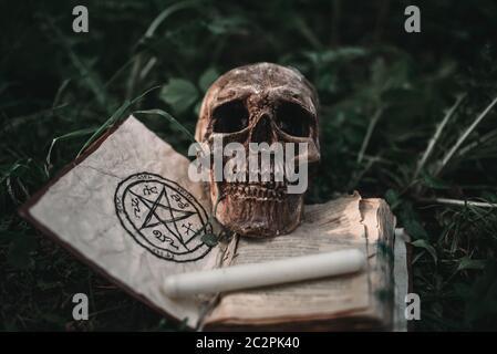 Livre de magie noir ouvert avec symboles occultes et crâne humain sur l'herbe en forêt. Exorcisme et rituels surnaturels