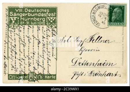 Au verso d'une carte postale historique allemande : texte manuscrit à l'encre, timbre-poste bavarois Prince Luitpold avec annulation, 1912