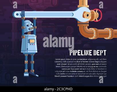 Le robot fait tourner la vanne sur la conduite à l'aide d'une clé. Illustration vectorielle de dessin animé - modèle d'affiche. Banque D'Images
