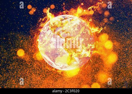 Incendie planète terre inferno. Le réchauffement de la planète et le concept de catastrophe environnementale.