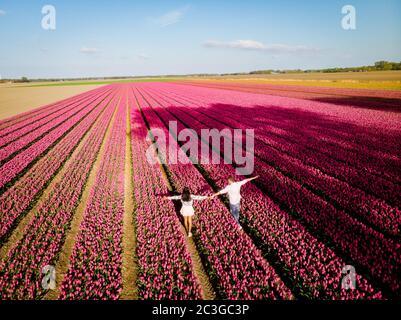 Champs de tulipes aux Pays-Bas, couple hommes et femmes dans le champ de fleurs au printemps aux Pays-Bas