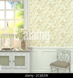 Style provençal à l'intérieur de la maison. Rendu 3D. Banque D'Images
