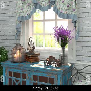 Intérieur de style provençal. La composition par la fenêtre avec lavande et antiquités. Rendu 3D. Banque D'Images