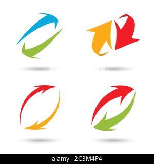 Jeu de flèches 3d colorées, illustration vectorielle Banque D'Images