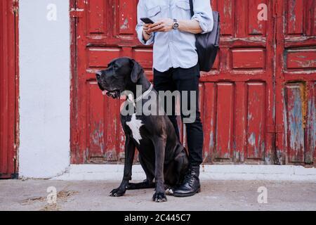 Vue rognée d'un jeune homme avec un téléphone cellulaire attendant son chien devant une vieille porte en bois rouge Banque D'Images