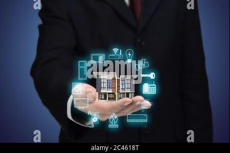 Internet des objets et concept de maison intelligente. Banque D'Images