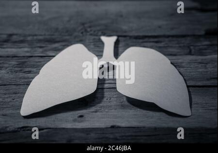 Symbole des poumons isolé sur fond rustique. Journée mondiale de la tuberculose. Soins de santé, médecine, cancer du poumon, organe donneur interne et campagne cesser de fumer Banque D'Images