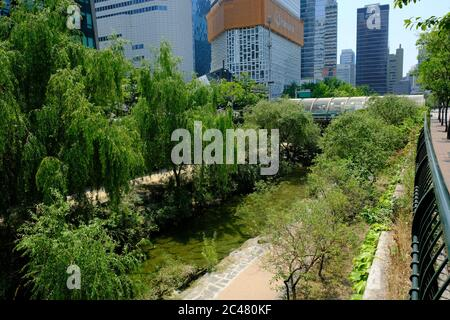Séoul Corée du Sud - sentier de randonnée du parc de Cheonggyecheon Banque D'Images
