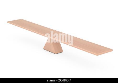 Concept d'équilibre. Planche en bois planche d'équilibrage sur un triangle en bois comme échelle sur un fond blanc. Rendu 3d