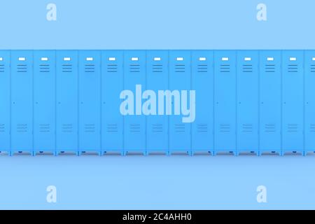 Rangée de casiers de salle de gym Blue Metal sur un fond rose 3d Rendering Banque D'Images