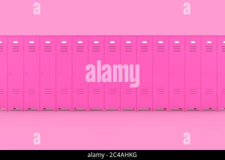 Rangée de casiers de gym en métal rose sur un fond rose rendu 3d Banque D'Images