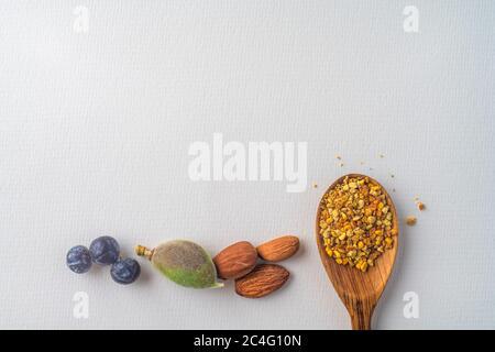 Trois baies anciennes de genévrier bleu, amandes noix et pollen d'abeille dans une cuillère en bois au printemps, isolées sur papier blanc texturé. Copier l'espace. Régime équilibré