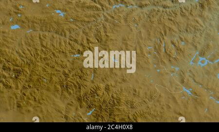Arhangay, province de Mongolie. Données de shader de couleur avec lacs et rivières. Forme entourée par rapport à sa zone de pays. Rendu 3D Banque D'Images