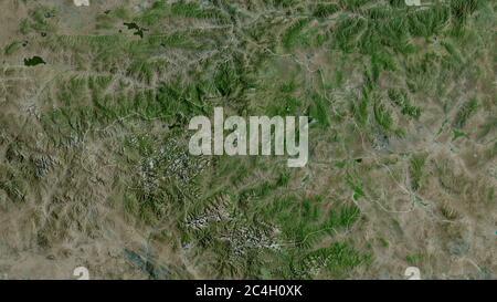 Arhangay, province de Mongolie. Imagerie satellite. Forme entourée par rapport à sa zone de pays. Rendu 3D Banque D'Images
