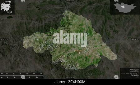 Arhangay, province de Mongolie. Imagerie satellite. Forme présentée dans sa zone de pays avec des superpositions informatives. Rendu 3D Banque D'Images