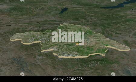 Zoom avant sur Arhangay (province de Mongolie) extrudé. Perspective oblique. Imagerie satellite. Rendu 3D Banque D'Images