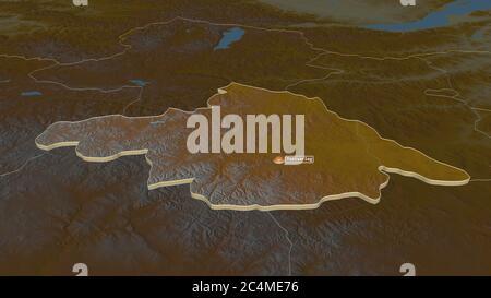 Zoom avant sur Arhangay (province de Mongolie) extrudé. Perspective oblique. Carte topographique des eaux de surface. Rendu 3D Banque D'Images