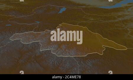 Zoom avant sur Arhangay (province de Mongolie). Perspective oblique. Carte topographique des eaux de surface. Rendu 3D Banque D'Images