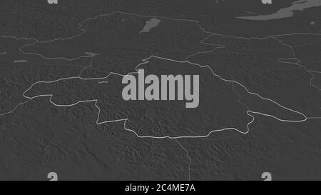 Zoom avant sur Arhangay (province de Mongolie). Perspective oblique. Carte d'altitude à deux niveaux avec les eaux de surface. Rendu 3D Banque D'Images