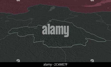 Zoom avant sur Arhangay (province de Mongolie). Perspective oblique. Carte colorée et bosselée de la division administrative avec les eaux de surface. 3 Banque D'Images