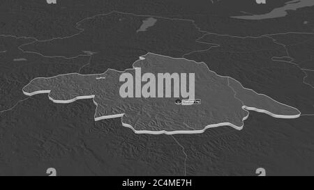 Zoom avant sur Arhangay (province de Mongolie) extrudé. Perspective oblique. Carte d'altitude à deux niveaux avec les eaux de surface. Rendu 3D Banque D'Images