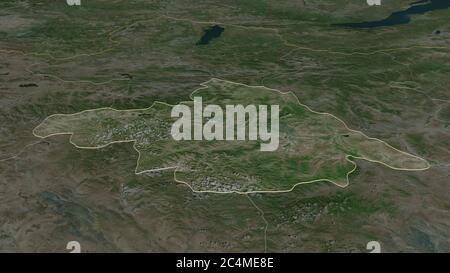 Zoom avant sur Arhangay (province de Mongolie). Perspective oblique. Imagerie satellite. Rendu 3D Banque D'Images