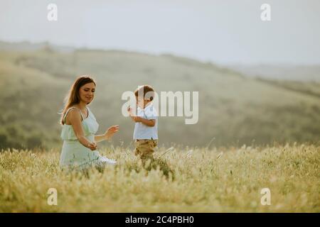Jeune mère enceinte avec son petit garçon mignon dans le champ le beau jour d'été Banque D'Images